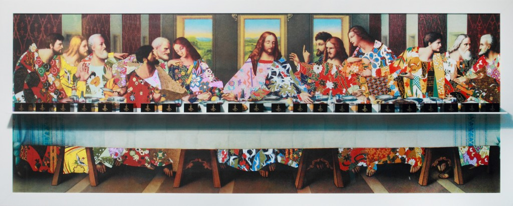 Nelson Leirner, Last Supper Series, 2013, 90 X 230 X 10cm, photography, acrylic and sake cups