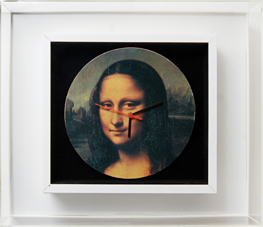 Nelson Leirner, Untitled, Collection Series, 2003, 46 x 54 x 10cm, wall clock in acrylic and velvet box